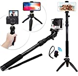 Premium HD RUGGED Selfie Stick + Tripod 3-in-1 Best Gift Pack – Universal: ANY iPhone - Android - GoPro or Camera – iPhone X 8 7 6 Plus - Samsung S8 S7 etc. + Bluetooth Remote