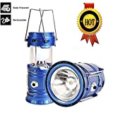 LED Camping Lantern - 3-in-1 Rechargeable Solar Ultra Bright Led Camping Lantern & Portable Outdoor Survival Lamp for Fishing ,Emergency,Hurricanes,Hiking,Hunting,Storm (Blue)