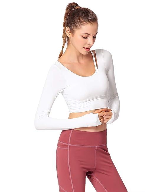 Mujer Sujetador Deportivo Push Up Bustier con Correas Fitness Yoga Camisetas Manga Larga: Amazon.es: Ropa y accesorios