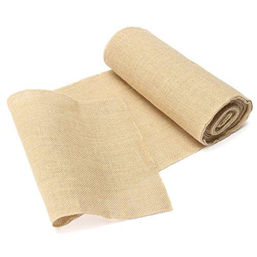Muzata Burlap Roll,Eco Jute Burlap Fabric, Frayless Edges,Hessian Table Runner, 13.8-Inch by 10.8-Yard, Natural