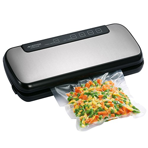 Vacuum Sealer, Geryon Automatic Food Sealers Vacuum Packing Machine with Starter Kit of Saver Roll, Bags and Hose for Dry & Moist Food Preservation, Black