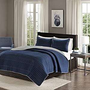 Comfort Spaces - Bayley Mini Reversible Quilt Set - 3 Piece - Embroidery Stitches - Navy, Grey, Full/Queen Size, includes 1 Quilt, 2 Shams