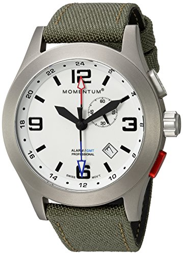 - Momentum Men's Vortech GMT Titanium Swiss-Quartz Watch with Canvas Strap, Green, 22 (Model: 1M-SP58L6G)