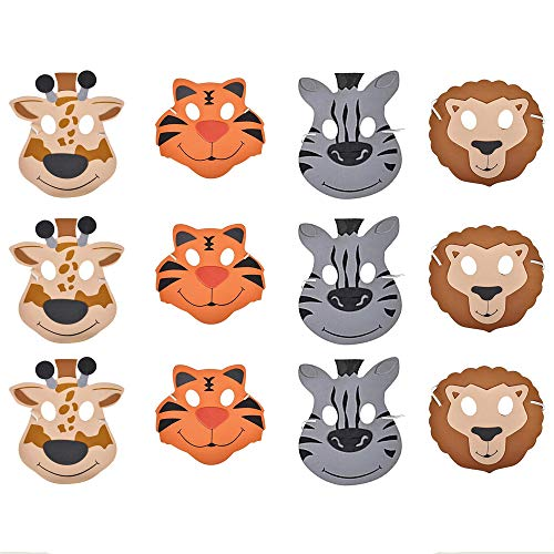Kicko 12 Foam Animal Masks 7.5 Inch 4 Different Sorts of Animals - Good for Kids Costume Parties]()