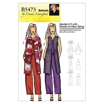 Amazon.com: Butterick Patterns B5473 Misses\'/Women\'s Jacket, Vest ...