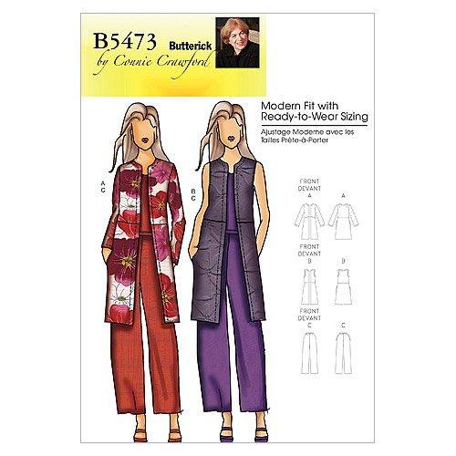 BUTTERICK PATTERNS B5473 Misses'/Women's Jacket, Vest and Pants, Size Miss -