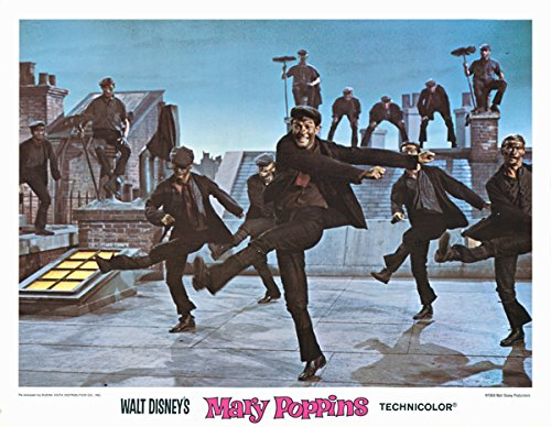 Mary Poppins original 1980 rerelease 11x14 lobby card Dick Van Dyke step in time from Silverscreen