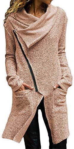 Haut Coat Ourlet Zippé Asymétrique Pardessus Blouson Irrégulier Top Jacket Devant Veste Longues Kaki Côtés Manteau Longue Plongeant Manches Poche qawPHP