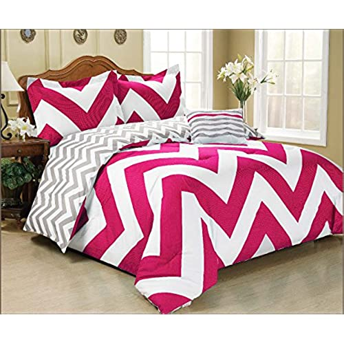 Mk Collection 4 Pc Zig Zag Reversible Chevron Comforter Set Hot Pink Grey  White New Bedding Set (Queen, Hot Pink)