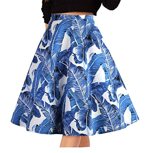 Musever Women's Pleated Vintage Skirts Floral Print Casual Midi Skirt Blue Feather L