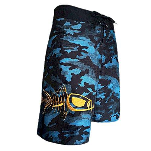 Tormenter Men's 5-Pocket Waterman Fishing Board Shorts (Blue Camo, (Boardshort Blue Clothing)