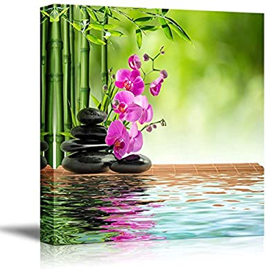 Canvas Prints Wall Art - Stacked Lava Stones with Bamboo and Water | Modern Wall Decor/Home Decoration Stretched Gallery Canvas Wrap Giclee Print. Ready to Hang - 24