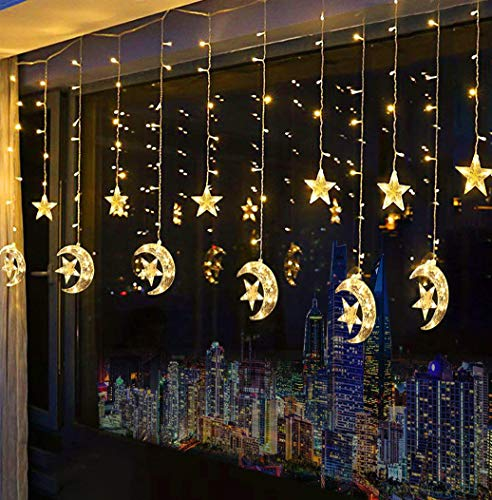 Domoos 138 LED String Lights, Moon Star Curtain String Lights with 8 Flashing Modes Decoration for Wedding Party Home Garden Bedroom Outdoor Indoor Wall Window Christmas Tree -