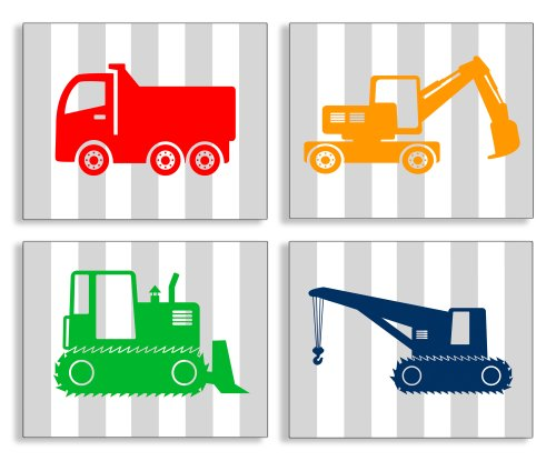 The Kids Room By Stupell Construction Vehicles On Gray Stripes 4-Pc. Rectangle Wall Plaque Set, Proudly Made in USA
