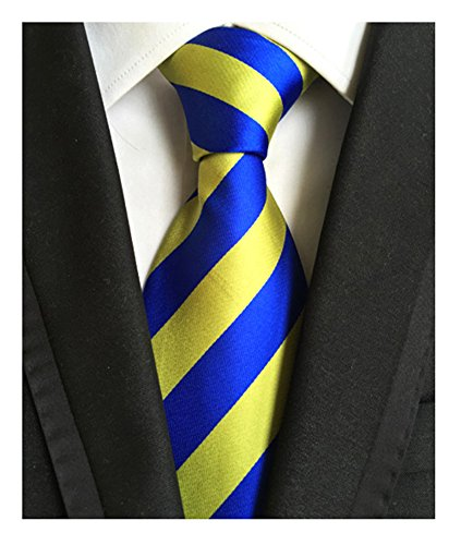 Blue Stripe Necktie (Secdtie Men's Blue Yellow Striped Jacquard Woven Silk Tie Formal Necktie LUD48)