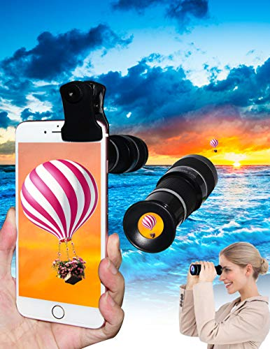 5-in-1 phone lens, 20x telephoto lens, 0.63x wide-angle lens, macro lens, fisheye lens, eye mask, Telescope Camera Mobile Zoom lens compatible iPhone Samsung Galaxy Huawei and most Android smartphones by Bostionye (Image #2)