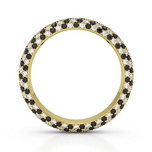 Or jaune 18carats 0,60CT G-H/VS sertie de diamants ronds Coupe Noir éternité Bague Agdr-1116