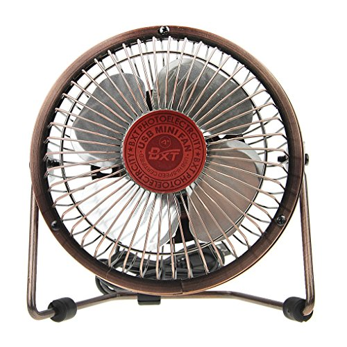 BXT 360 Degree Rotating USB Cooling Table Vintage Retro Metal Electric Home Office PC Laptop Desktop Portable Desk Mini Fan (Bronze,4 inch)