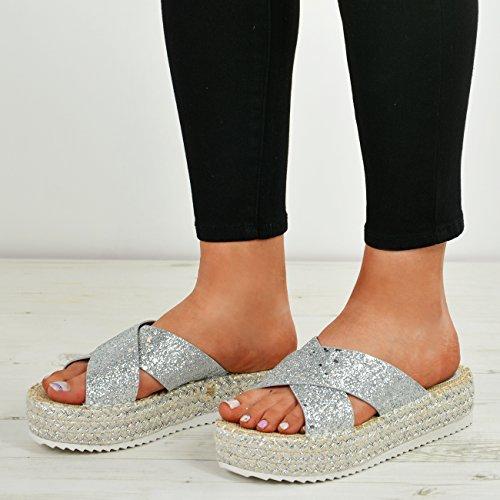Cucu Fashion Ladies Womens Studded Flatforms Summer Sandals High Heels Espadrille Shoes Size Silver eNfoq8OM
