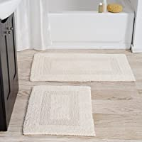 Bedford Home 100% Cotton 2 Piece Reversible Rug Set - Ivory