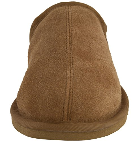 Lambland Mens Sheepskin Lined Slipper Boots With Hard Wearing Sole In Chestnut - Size UK7 8Das4