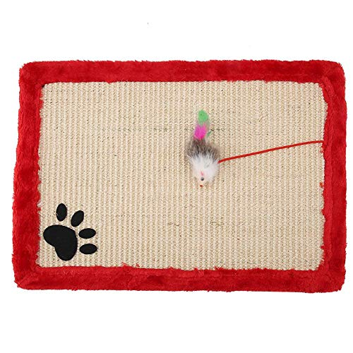 HEEPDD Cat Scratch Mat, Natural Sisal Scratching Cushion Nontoxic Biting Chewing Scratcher Claws Training Pad with Plush Mouse for Cats Kitten Kitty Sleeping Resting