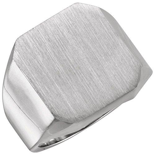 (Bonyak Jewelry 14K X1 White 18x16 mm Octagon Men's Signet Ring in 14k White Gold - Size 10)