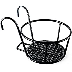 Metal/Iron Art Hanging Baskets Flower Pot Holder - Great for Patio Balcony Porch or Fence (Black)