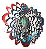 WorldaWhirl Whirligig 3D Wind Spinner Hand Painted Stainless Steel Twister Star (6.5'' Inch, Multi Color Red Blue Yellow)