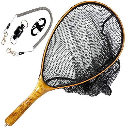 Mesh Woods (SF Fly Fishing Trout Landing Net Tangle-Free Coated Mesh Net Burl Wood Comfortable Handle Grip with Burl Wooden Magnetic Net Release 09A)