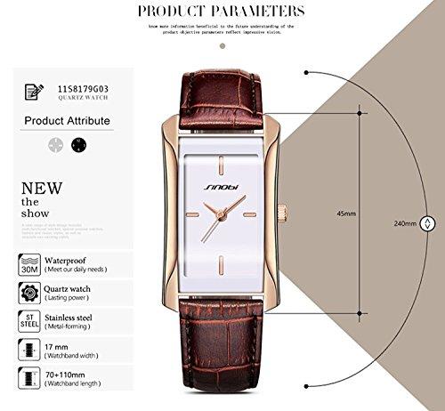 SINOBI Square Women Watches Wristwatch Business Casual Lady Designer Simple Rectangular Women Watches S8179L (rosegold case&brown band) by SINOBI (Image #1)