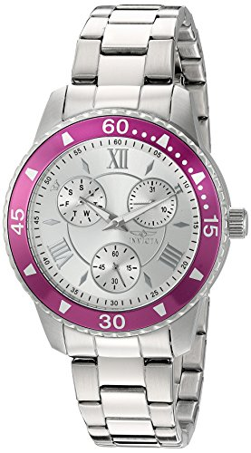 Invicta Women's 'Angel' Quartz Stainless Steel Watch, Color:Silver-Toned (Model: 21767)