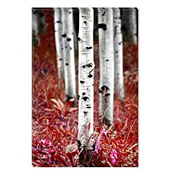 Startonight Canvas Wall Art Aspen Forest Trees Family Nature, Dual View Surprise Artwork Modern Framed Ready to Hang Wall Art 100% Original Art Painting 23.62 X 35.43 inch