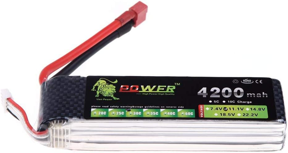 Exiron Lion Power Lipo Battery 11.1V 4200Mah 30C MAX 40C T Plug for DJI F450 F550 RC Qudcopter Helicopter Car Boat Airplane Battery