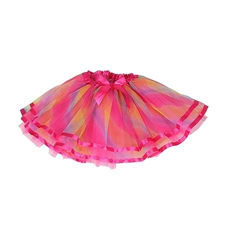 Vivianu - Mini falda de tul de color arcoíris 3-10 T, para ballet ...