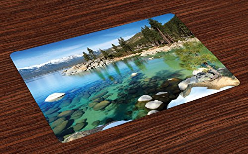 Ambesonne Lake Tahoe Place Mats Set of 4, Scenic American Places Mountains with Snow Rocks in The Lake California Summer, Washable Fabric Placemats for Dining Table, Standard Size, Reseda Grey