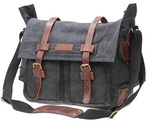blue Vintage Messenger Bag Canvas Military Shoulder Bag Fits 15 Inch Laptop M83 (grey)