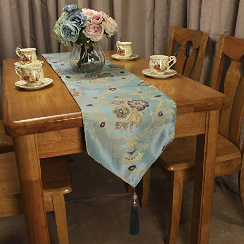 ROGEWIN Table Runners Blue Beige Jacquard Flowers for Home Hotel Restaurant American Countryside Dining Room Decorative