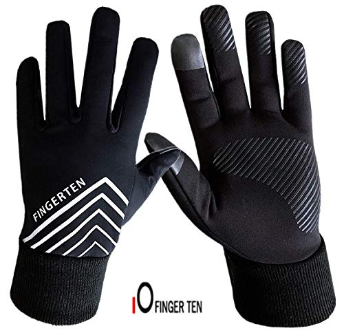 (Running Gloves Men Women Run Liner Fleece Warm Winter 3M Night Gear, Touch Screen Windproof Grip in Pair with Free Earband Gift Set (Large))