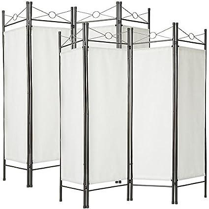 TecTake Biombos diseño 4-Panel Tela Divisor habitación Separador separación biombo 180x160cm Varias cantidades - (1x Blanco | no. 401660)