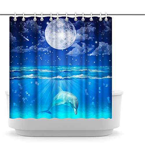 Innopics Blue Seascape Dolphin Animal Shower Curtain Moon Starry Sky Image Printed Waterproof Bath Curtain Decor Polyester Fabric Beautiful Sea Scenery Bathroom Decoration 72