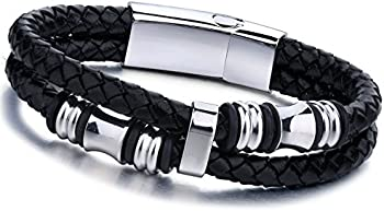 Jstyle Stainless Steel Braided Leather Mens Bracelet