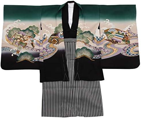 七五三 着物 男の子 五歳 13点フルセット 正絹 羽織袴セット 鷹 タカ ブラック 黒色 3510-00036-1