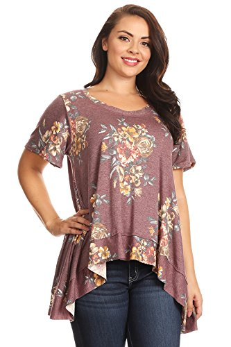 PB COUTURE Womens Plus Size Short Sleeve Tunic Top Scoop Neckline Hi Low Hem Burgundy Floral 1X (Pb Tunic)