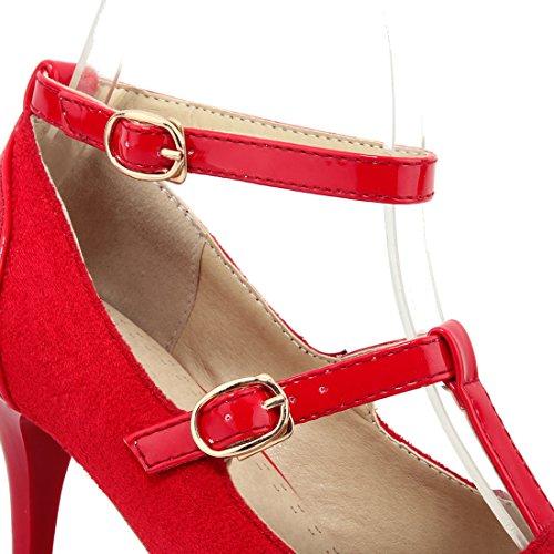 YE Damen T Spangen Spitze Pumps Stiletto High Heels mit Riemchem Elegant Schuhe Rot