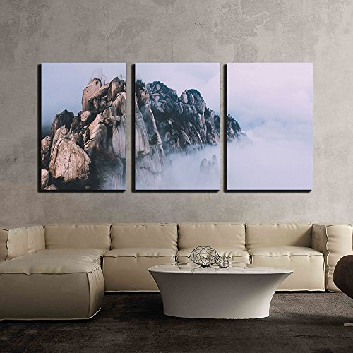 Rock Mountain Surrounded with Fog x3 Panels