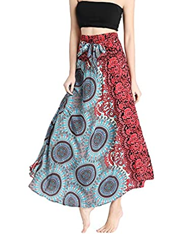 b171e20ce3 Rysly Women's Elastic Waist Bohemian Long Skirt Summer Beach Skirt Casual  Floral Dresses