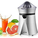 Zitruspresse Elektrisch Aicok Leistungsstarke Saftpresse, mit Staubschutzhaube und Anti-Tropf Mechanismus, fürdas Auspressen frischer Orangen und Zitronen, sehr leiser Motor, BPA frei