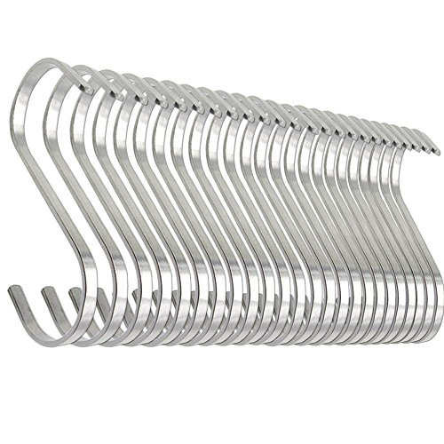 24 Pack Esfun Large Flat S Shaped Hooks Heavy Duty Stainless Steel S Hooks for Hanging, Metal Kitchen Pot Pan Hanger Storage Rack Closet S Type Hooks