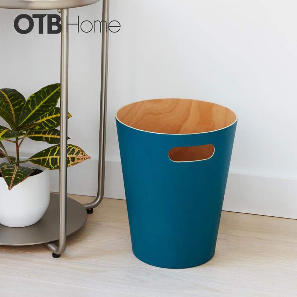Light Years Trash Can, Household Storage Bucket Living Room Bedroom Without Cover Wood Grain Round Wastebasket Office 9L (Color : C)